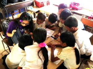 Figure 4. We conducted a 4-day ICT workshop in Sen Sok Primary School to teach the students how to use the mobile devices.