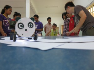 Figure 5. All students participated actively in the robotic car competition at the end of the course.