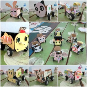 Figure 4. These beautiful robotic cars were designed and decorated by a group of creative Cambodian students.